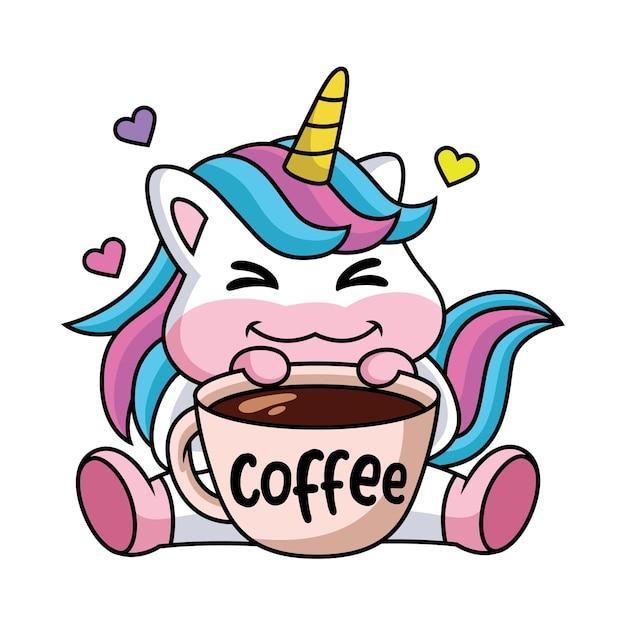 커피 한잔과 함께 행복 한 귀여운 만화 유니콘의 표현 프리미엄 벡터