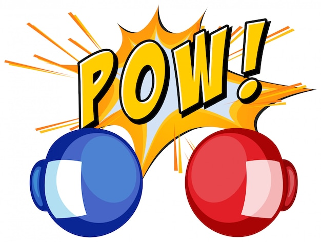 Expression word pow with boxing gloves Free Vector