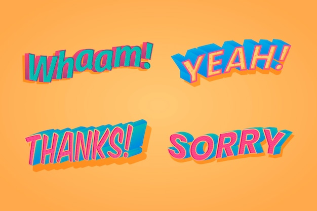 Expressions lettering retro collection Free Vector
