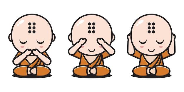 Выражения монаха не говорят, не видят, не слышат Premium векторы