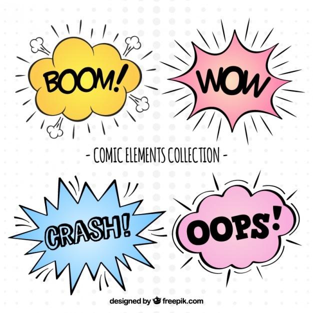 Выражения комических элементов Бесплатные векторы