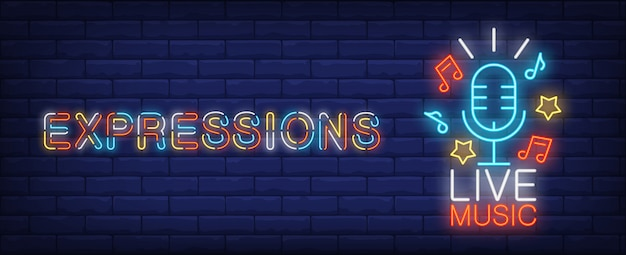 Expressions on live music neon sign. Blue microphone with stars and melody signs Free Vector