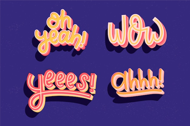 Expressions and onomatopoeias lettering collection in retro srtyle Free Vector