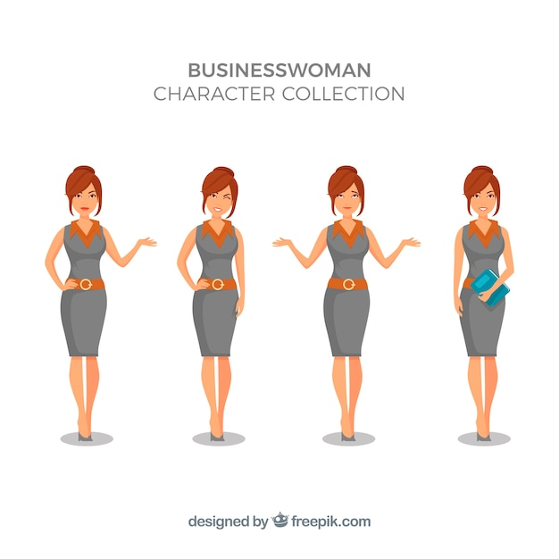 Expressive businesswoman character collection Free Vector