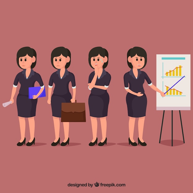 Expressive businesswoman character in different\ situations
