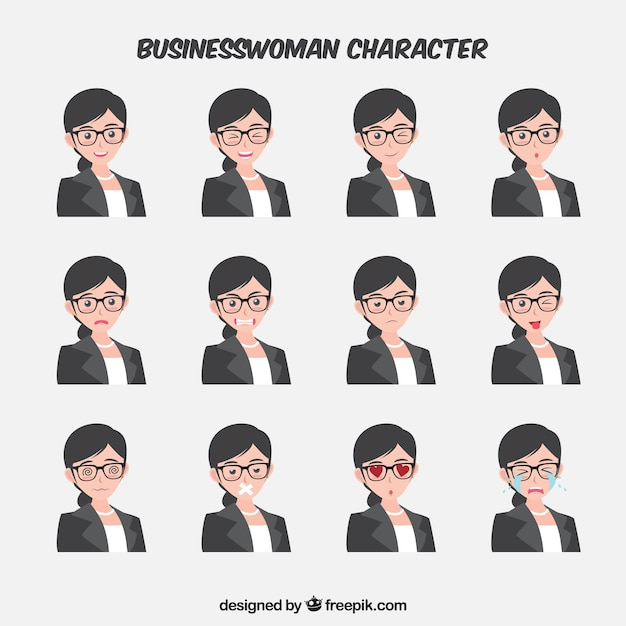 Character Design Vector Free Download : Expressive businesswoman character in flat design vector