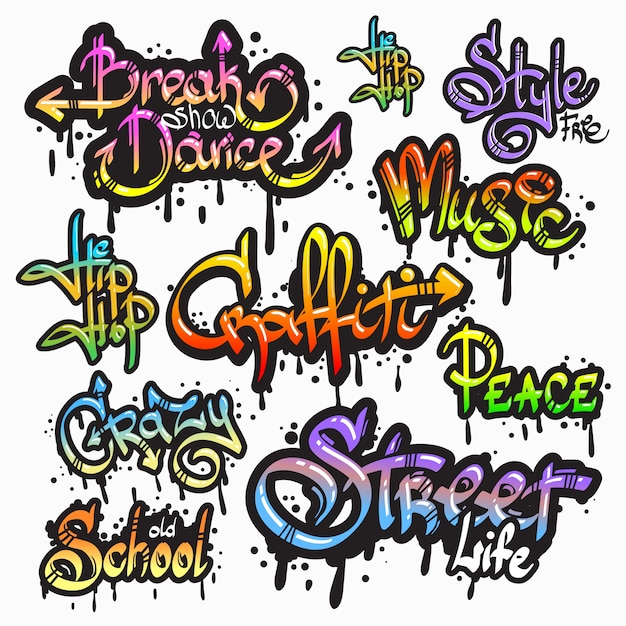 Expressive collection of graffiti urban youth\ art individual words digital spray paint creator grunge isolated\ vector illustration