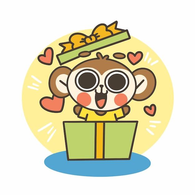 表現力豊かなかわいい小さな猿の少年落書きイラスト Premiumベクター