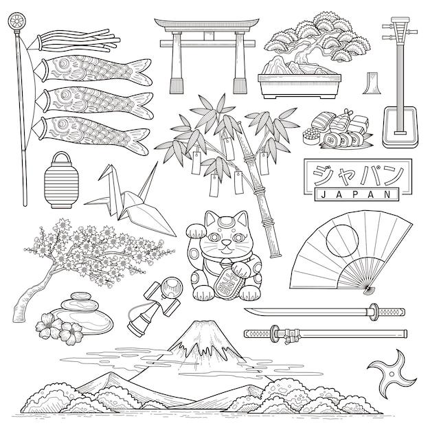 絶妙な日本旅行要素コレクション Premiumベクター