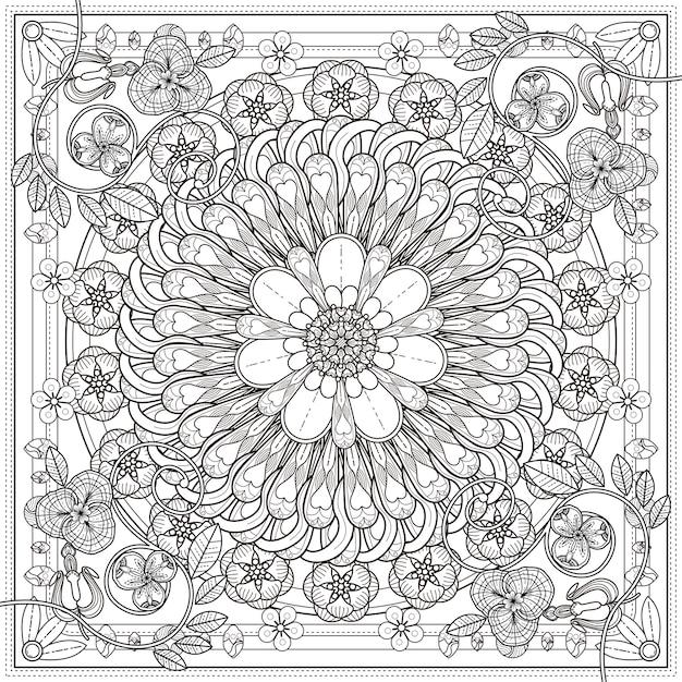 花の要素を持つ絶妙な曼荼羅の背景デザイン Premiumベクター