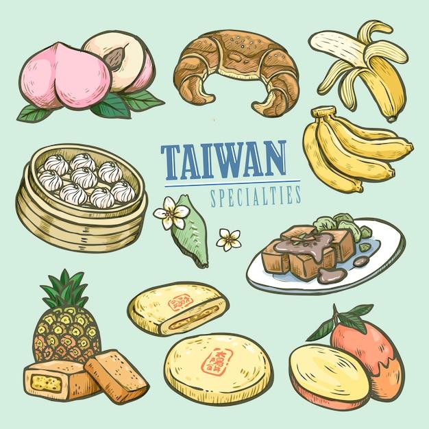 Коллекция изысканных тайваньских деликатесов в рисованной Premium векторы