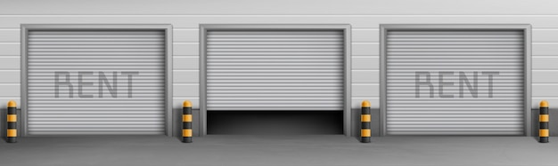 Exterior concept background with garage boxes for rent, storage rooms for car parking. Free Vector