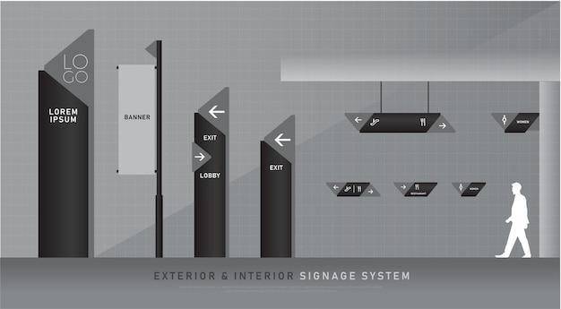 Exterior and interior signage blue graphic traffic signage system corporate identity Premium Vector