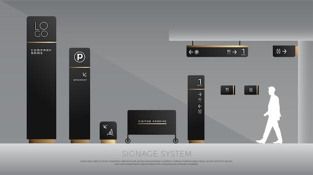 Exterior and interior signage concept Premium Vector