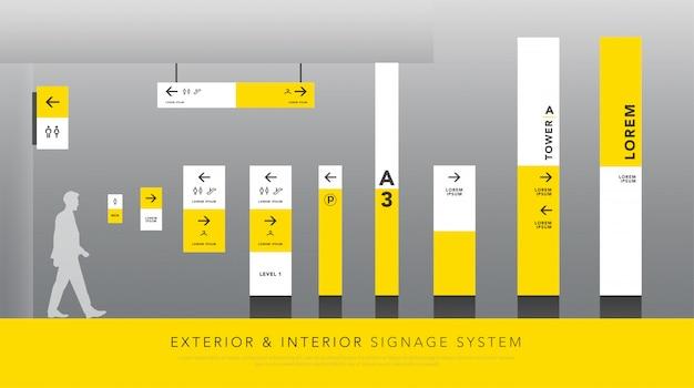 Exterior and interior signage and traffic signage Premium Vector
