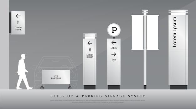 Exterior and interior signage Premium Vector