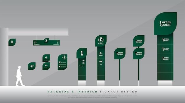 Exterior and interior traffic signage system Premium Vector