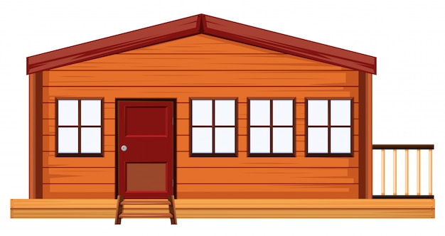 An exterior of wooden house Free Vector