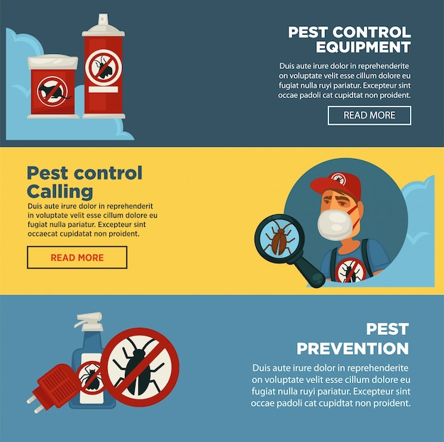 Extermination pest control service banners template  of sanitary domestic exterminate disinfection equipment. Premium Vector