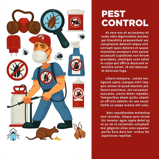 Extermination or pest control service and sanitary domestic disinfection flat design poster template Premium Vector