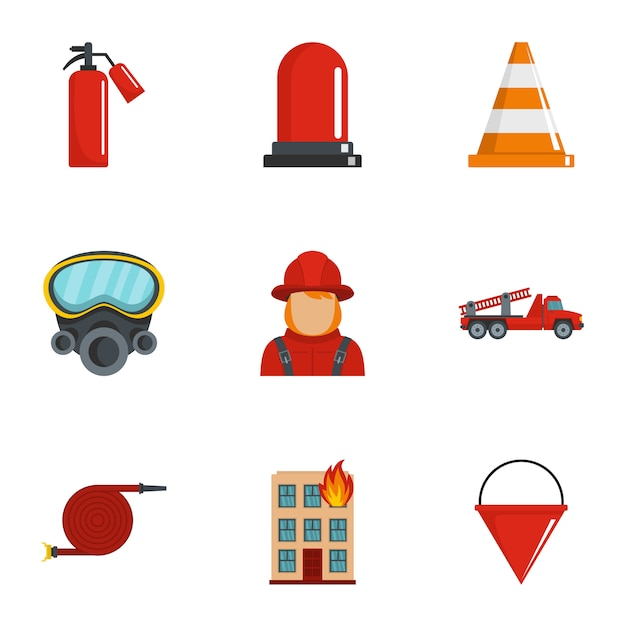 Extinguish fire icons set, cartoon style Premium Vector