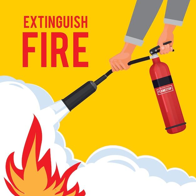 Extinguisher in hands. firefighter with fire red extinguisher extinguish big flame  attention placard Premium Vector