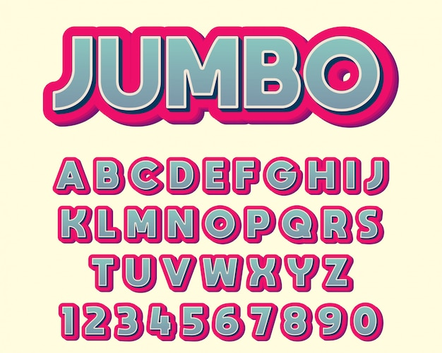 Extra bold colorful typography design font Premium Vector