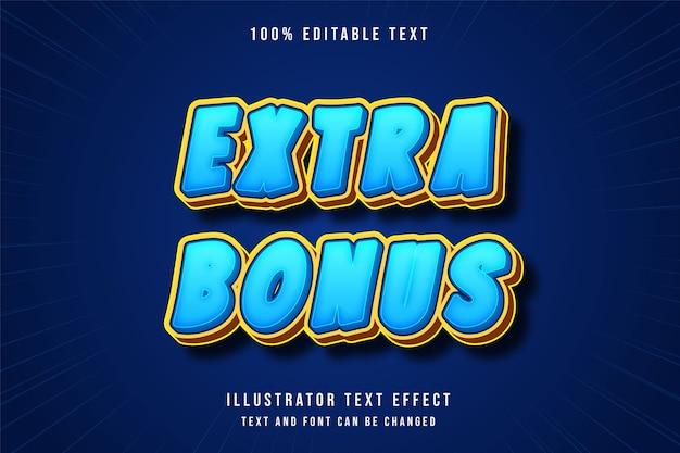 Extra bonus,3d editable text effect blue gradation yellow orange game style Premium Vector