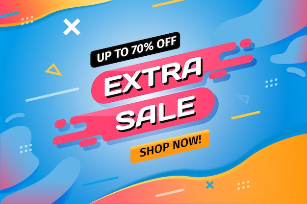 Extra sale and shop now retro background Free Vector