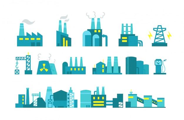 Extraction petroleum. set of factory illustration oil production. Premium Vector