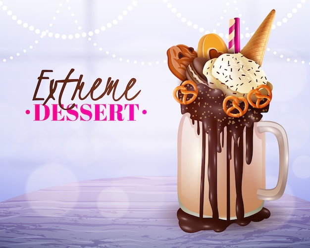 Extreme dessert blurred light background poster Free Vector