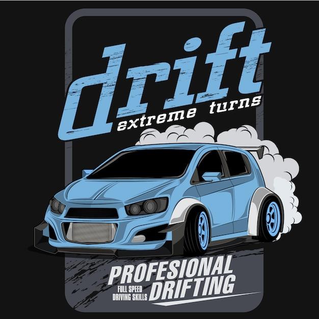 Extreme drift championship, vector car illustrations Premium Vector