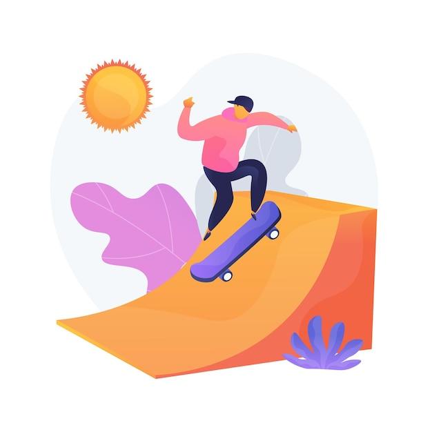 極度のレジャー、スポーティーなエンターテインメント。アウトドアアクティビティ、スケートボードの趣味、アクティブな休息。都市のスケートボードパークでの10代のスケートボーダートレーニング。 無料ベクター