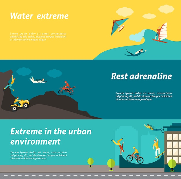 Extreme sport banner set Free Vector