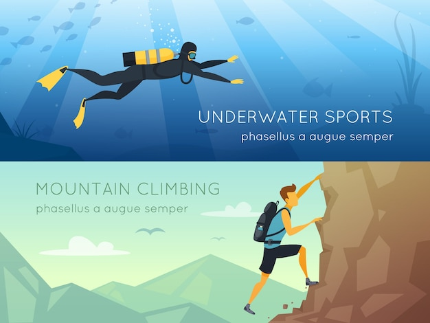 Extreme sports 2 flat horizontal banners banners Free Vector