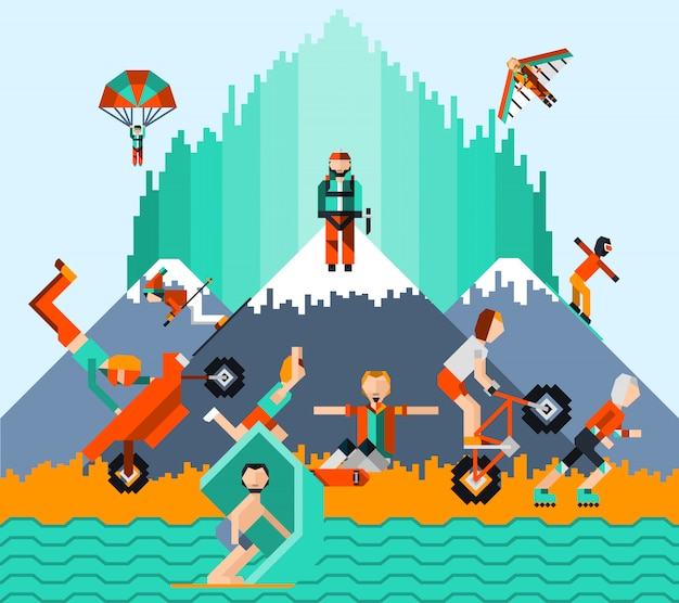 Extreme sports concept Free Vector