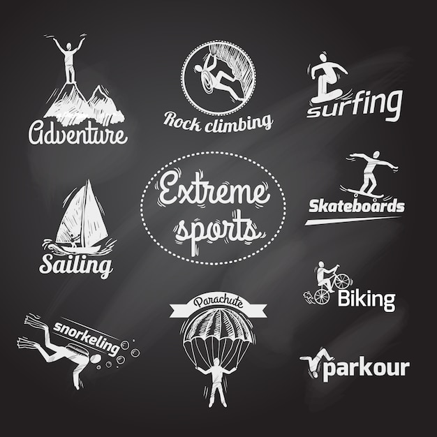 Extreme sports icon chalkboard Free Vector