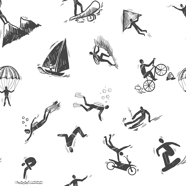 Extreme sports icon sketch seamless pattern of\ snorkeling surfing climbing vector illustration.