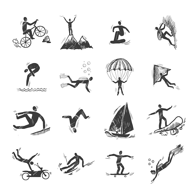 Extreme sports icons sketch of diving climbing\ sailing isolated doodle vector illustration