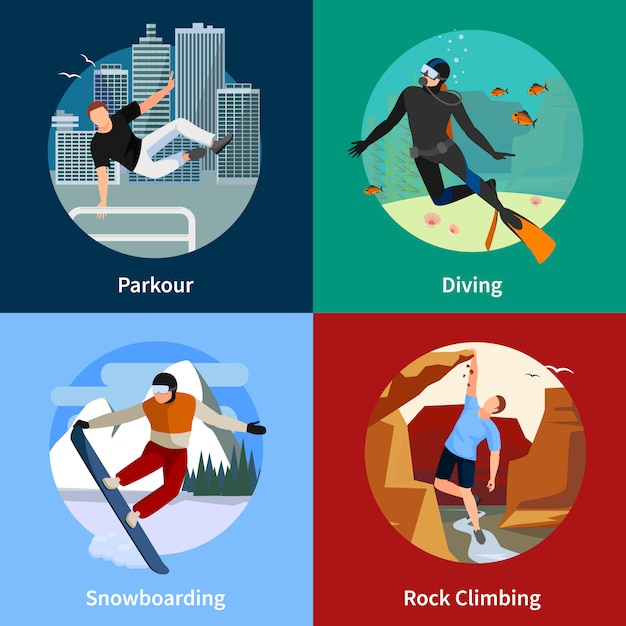 Extreme sports people 2x2 icons set with parkour diving snowboarding and rock climbing Free Vector