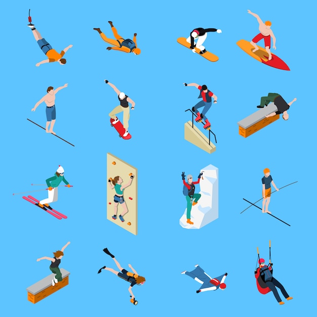 Extreme sports people isometric set Free Vector