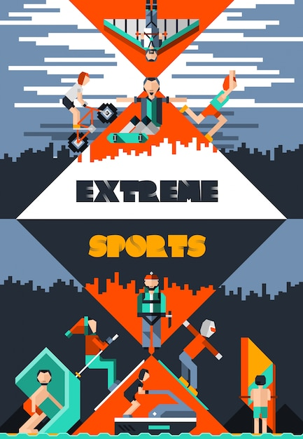 extreme sports poster vector free download