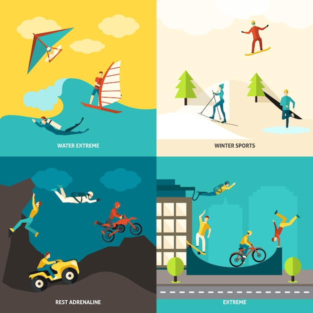 Extreme sports set Free Vector