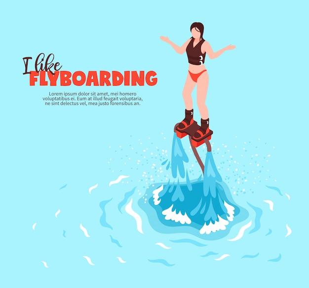 플라이 보드에 수영복에 젊은 여자와 극단적 인 여름 수상 스포츠 아이소 메트릭 포스터 무료 벡터