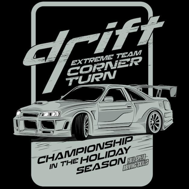Extreme team drift, car vector illustration Premium Vector