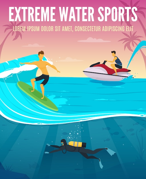 Extreme water sports flat composition tropical vacation poster Free Vector