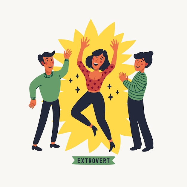 Premium Vector | Extrovert. extraversion and introversion
