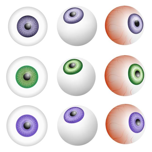 Eye ball anatomy mockup set. realistic illustration of 9 eye ball anatomy mockups for web Premium Vector
