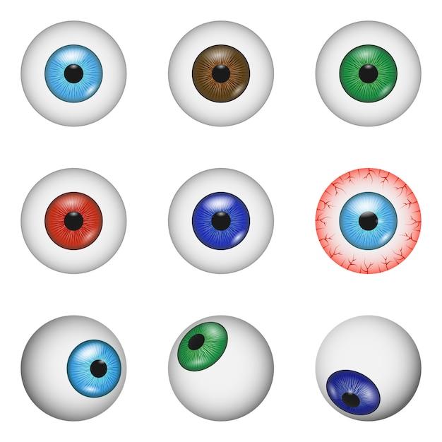 Eye ball anatomy mockup set Premium Vector
