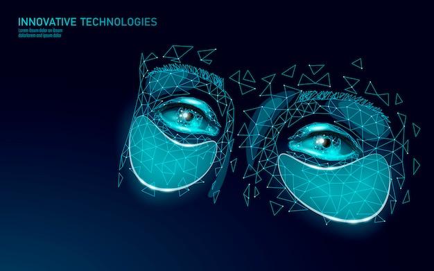 Патчи для красоты глаз. наука косметика реклама технологии. антивозрастной лифтинг увлажняющий пластырь для лица женщины. женский спа салон ухода за кожей лечение темные круги макияж. полигональные иллюстрации. Premium векторы